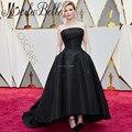 Kirsten Dunst 2017 89a Premio Oscar Celebrity Vestidos de la Alfombra Roja de Famosos Negro Bolsillos Del Vestido Trasero Largo Delantero Corto Vestido de Noche