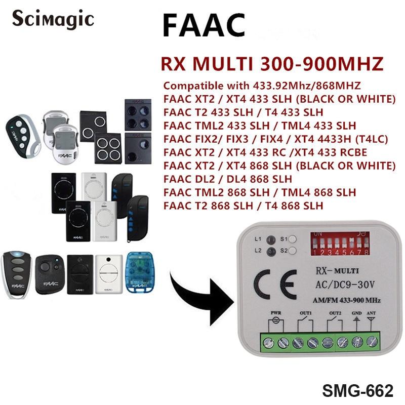 Receptor de Controle Mhz de Freqüência Faac Xt2 Xt4 868slh Auto Remoto Rolling Code 433 Mhz 868 Mhz 300 900 Multi Receptor Universal