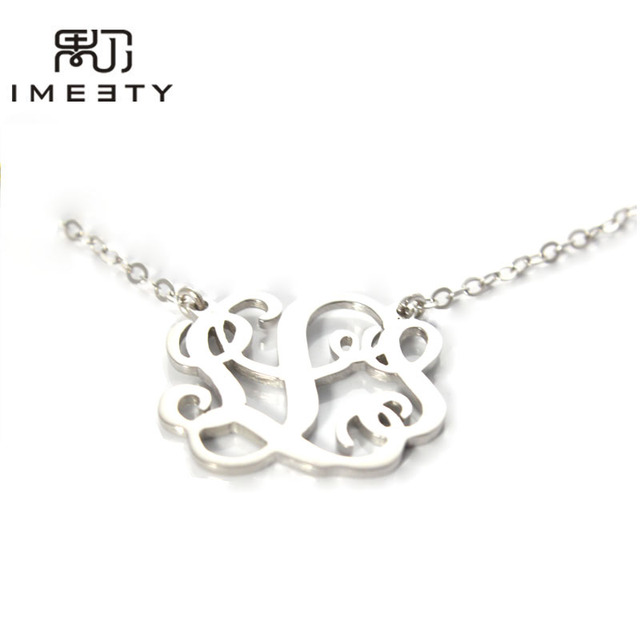014fb2668 IMEETY chunky statement jewelry silver monogrammed nameplate necklace  initials necklace women personalized monogram necklace
