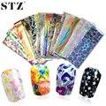 STZ 50 Designs 50 pçs/sets NailArt Folhas Laser Shinning Beleza Mista Transferência Dicas Etiqueta Artesanato DIY Decorações do Universo NJ207
