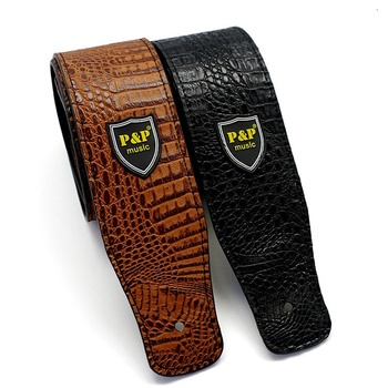 Guitars PU Leather Straps For Acoustic Electric Guitars Bass Crocodile Adjustable Guitar Strap Free Shipping