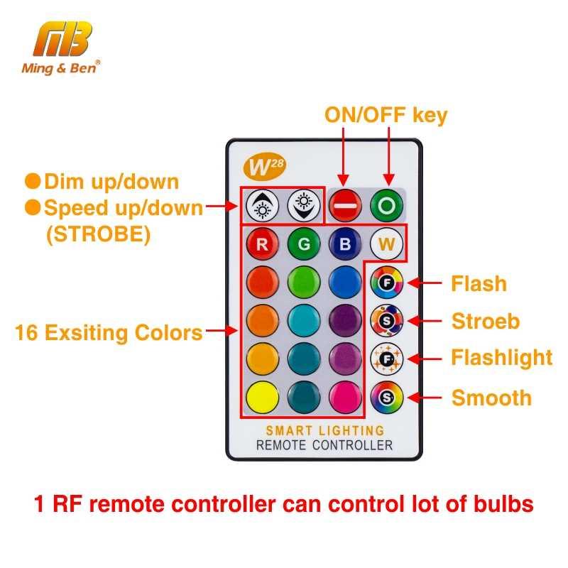 RGB LED Lampu Bohlam 5W 10W 15W E27 AC85-265V LED Lampada 16 Warna Berubah LED RGB Bohlam dengan Fungsi Memori + IR Remote Control