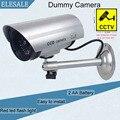 Водонепроницаемый Серебристого Металла Поддельные Камеры Два АА Батареи LED Фиктивная Камера Безопасности Ик-Подсветкой Купольная Камера ВИДЕОНАБЛЮДЕНИЯ Камеры Наблюдения ELESALE