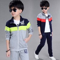 Outdoor Running Sports Clothes School Boys Teenage Clothing Set Jacket Pants 2 Pcs Children Tracksuit Kids