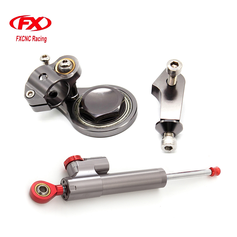 FXCNC Aluminum Adjustable Motorcycles Steering Stabilize Damper Bracket Mount Kit For Kawasaki ZX6R 2005-2006 Motorbike Support