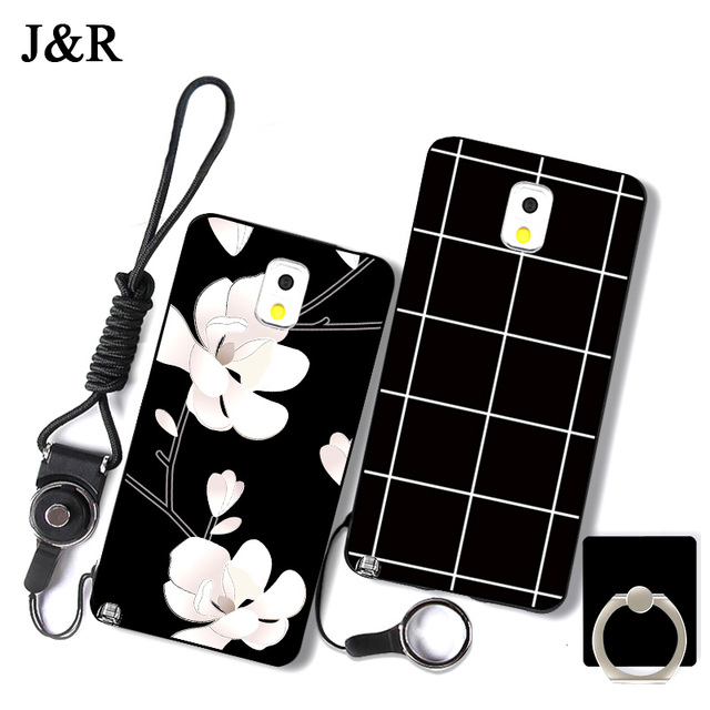 For Samsung Galaxy Note 3 III SM-N900A/N9005 Case Cover Silicone Painted Cute Girl Phone Bags Protective Cases Strap