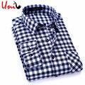 2017 nueva primavera hombres plaid camisas de manga larga casual para hombre camisa a cuadros inglaterra estilo hombres del algodón marca clothing s-4xl yn705