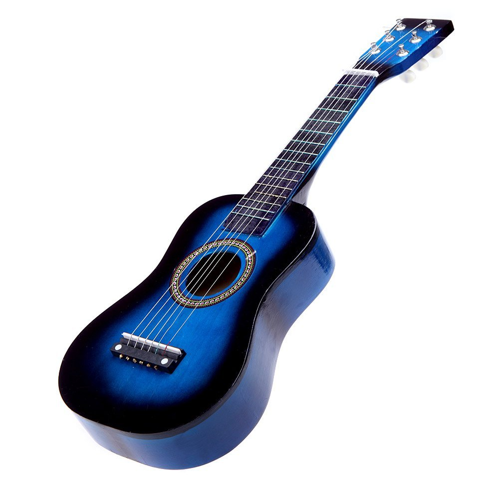 blue 23 Mini Guitar Basswood Kids Acoustic Stringed Instrument with Plectrum 1st String