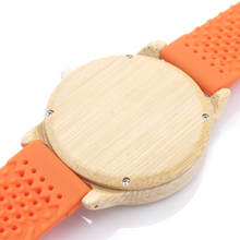 BOBO BIRD B04 Fashion Causal Bamboo Watch with Fabric Dial Ladies' Wood Watches With Soft Silicone Straps Quartz Watch With Box