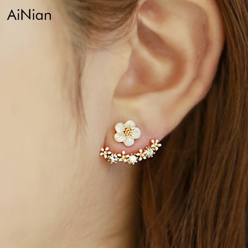 AiNian Fashion Jewelry Cute Cherry Blossoms Flower Stud Earrings For Women Several Peach Blossoms Earrings