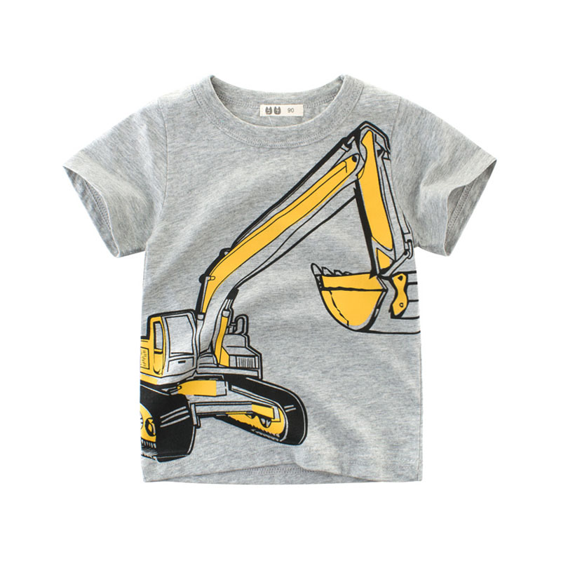 27kids Boys Tops 2018 Kids Clothes Excavator Cotton Summer Short Sleeve Children Sweatshirt 2 3 4 5 6 7 8 Years T-shirts for Boy