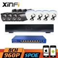 Xinfi 8CH POE sistema de CCTV HDMI NVR Recorder 9 portos switch POE 960 P vigilância início HD POE sistema de câmera kit CCTV