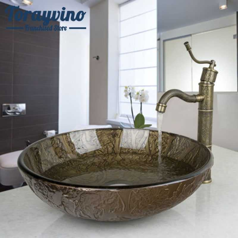 Phòng Tắm Lưu Vực Kính Phòng Rửa Lưu Vực Tàu Vanity Bồn Rửa Nhà Tắm Phối Lưu Vực Chậu Rửa Retro Đồng Bộ Vòi Thoát Nước