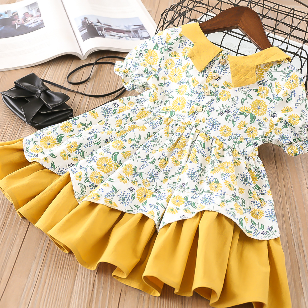 Hurave Dress Kids Short-Sleeve Turn-Down-Collar Baby-Girl Casual-Print Cotton Summer