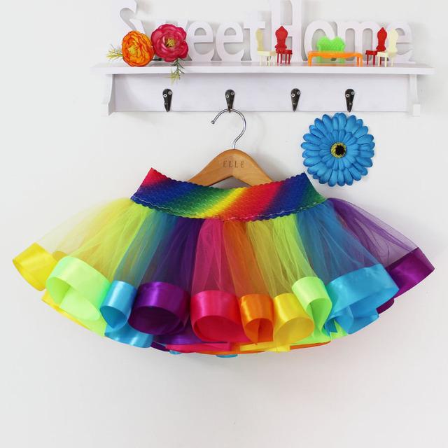 Summer Style Girl Skirt Baby Kids Children Tutu Skirt Short Rainbow Skirt Baby Girl Clothes Kids Colorful skirt Dance Gift