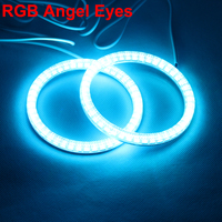 RGB Angel Eyes Multi Color LED Ring Turnning Light DRL With Cover For Car Headlight Foglight Motorcycle Headlights 2PCS