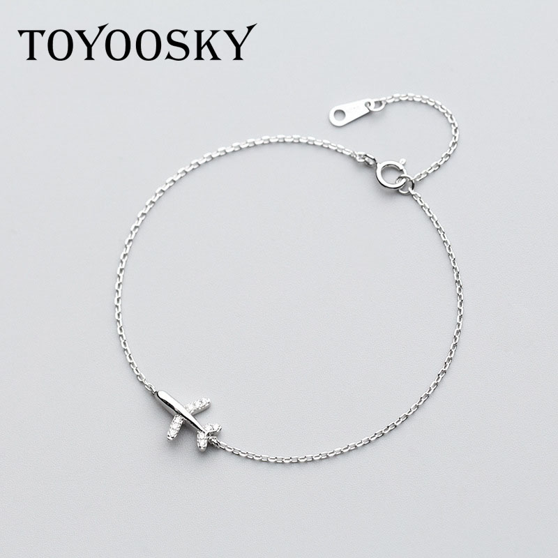 1 Pcs 925 Sterling Silver Jewelry Bracelet Female Crystal Aircraft Airplane Bracelet Temperament Personality Hand Jewelry Gift