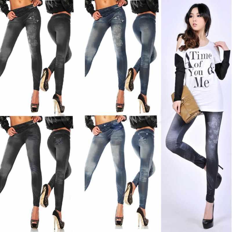 Cetak Wanita Denim Celana Pensil Peregangan Pinggang Wanita Jeans Celana Yanahuara Feminina Slim Jeans untuk Wanita Kurus Pinggang Tinggi