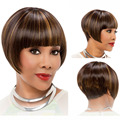 28CM Bob Ladies Synthetic Wig Women Neat Bangs Short Hair Cosplay Wigs HB88