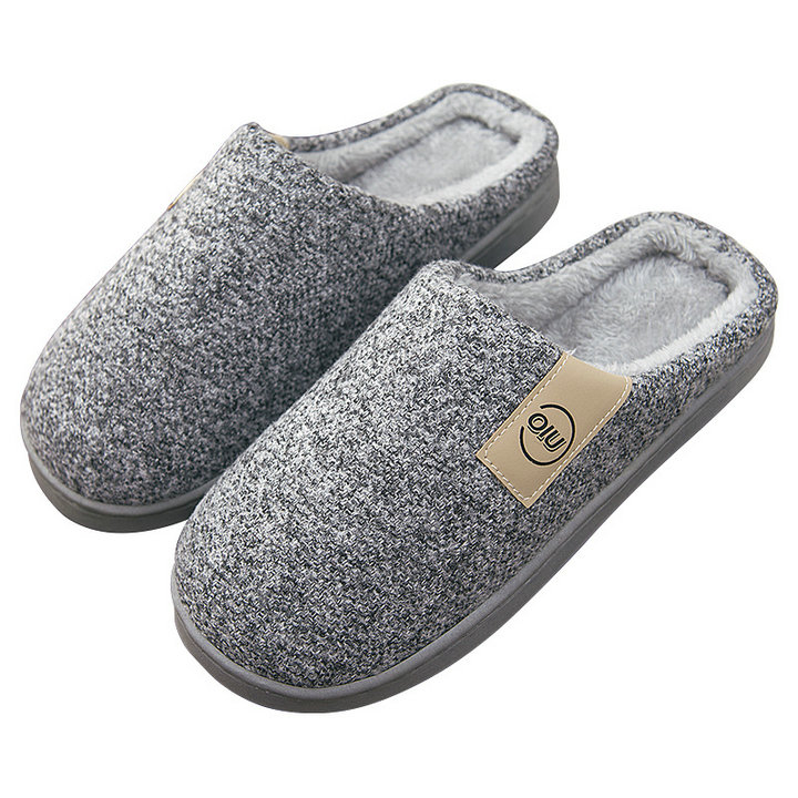 Men's Comfort Knitted Cotton Fabric With Soft Fleece Indoor Stitching Rubber Sole Men Women Solid Slipper