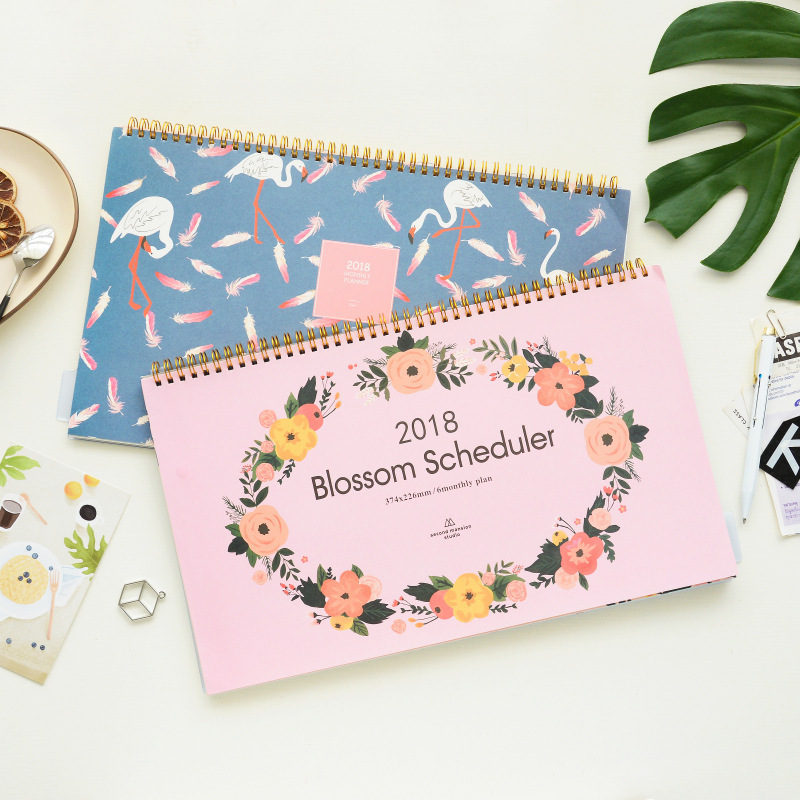 Flamingo And Flowers Design 2018 Blossom Scheduler Monthly Plan+Grid Paper 22.6*37.4cm blossom flowers