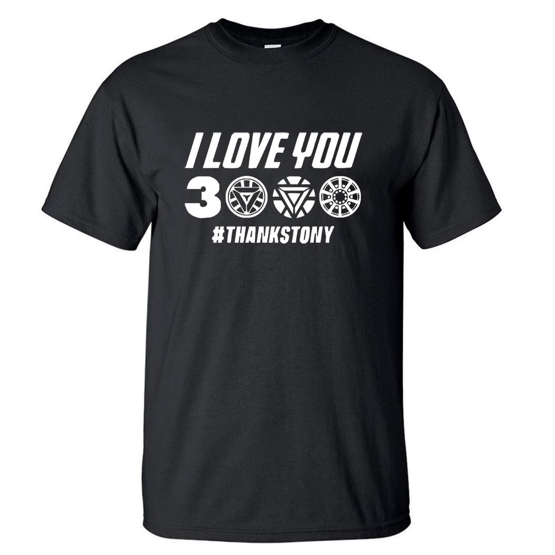 EU Te amo 3000 Vezes T shirt Homens de Super-heróis Os Vingadores Homem De Ferro Tony Stark Verão T Camisas de Algodão Curta manga Tshirt Preta