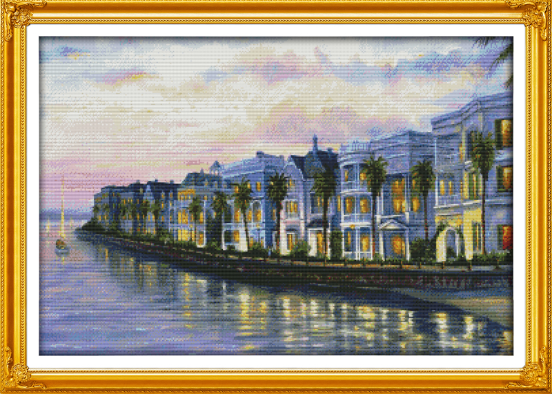 Night at the seaside villas, counted printed on fabric DMC 14CT 11CT Cross Stitch kits,embroidery needlework Sets, Home Decor