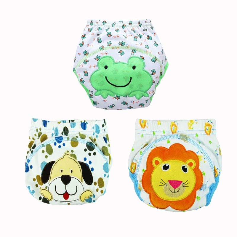 3pc Baby Diapers Lovely Cartoon Waterproof Baby Potty Training Pant Panties Newborn Underpants Not Waterproof 80/90/100
