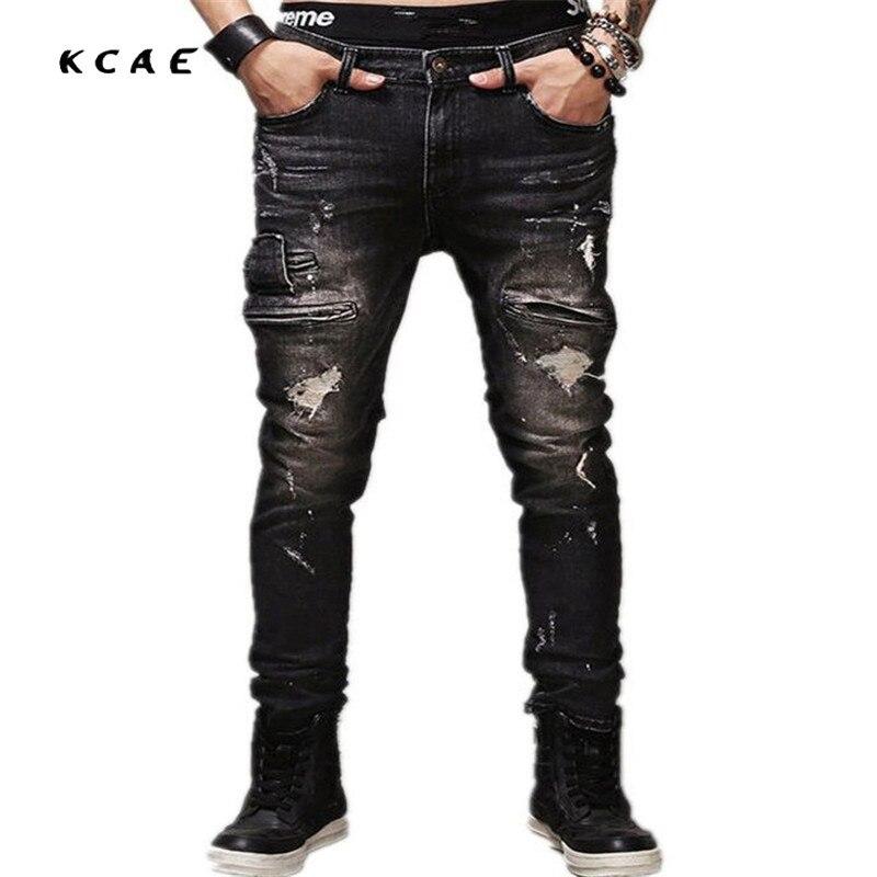 New Skinny Jeans Men Ripped Black Slim Stretch Hole Distressed Mens Biker Jeans Medium Wash Streetwear Hip Hop Pants Jogger motorcycle denim biker jeans men slim straight hole ripped distressed mens skinny jeans stretch pleated street hip hop pants