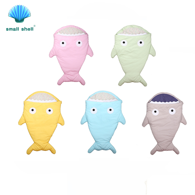 Small shell Cute shark cartoon sleeping bag newborns winter strollers bed swaddle blanket wrap bedding envelope baby