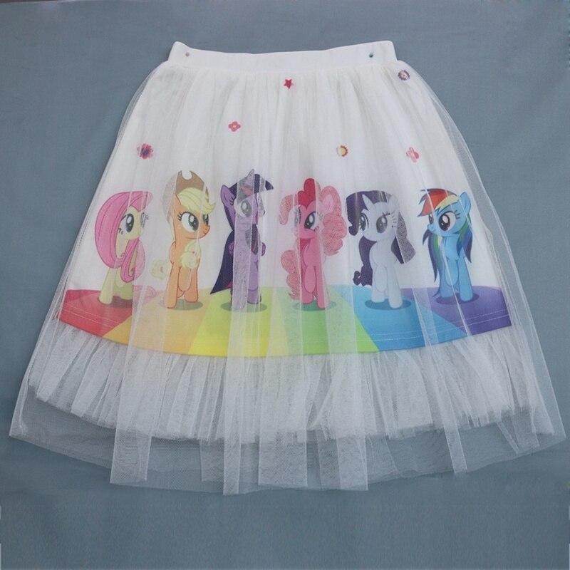 Girls Toddler Skirts Cartoon Unicorn Tutu Pony Horse Icing Anna Princess Printed Lace Little Girl Clothes Kids Long Skirt
