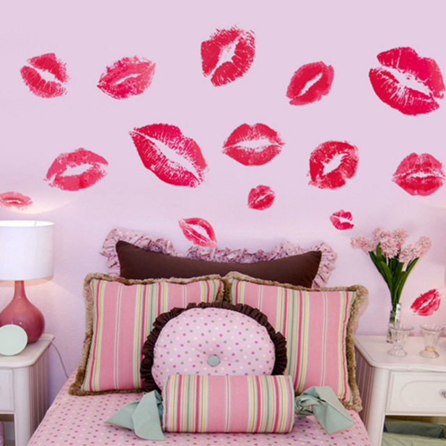 Kisses Wall Sticker Sex Red Lips Print Wall Decals Home Decor Girls Room Wall  Art Sticker