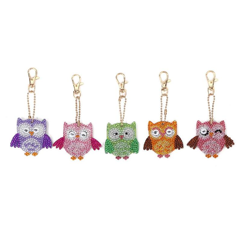 5pcs Keychain DIY Bird Full Drill Special Shaped Diamond Painting Pendant Keyring Shining Rhinestones Embroidery Cross Stitch