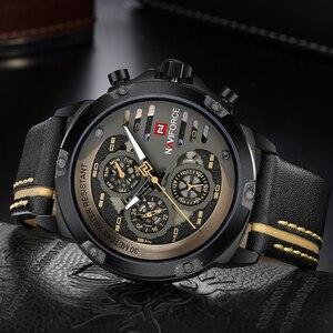 Image 4 - NAVIFORCE męskie zegarki Top marka luksusowe wodoodporna 24 godziny zegarek quartz z datą człowiek skórzany Sport zegarek na rękę mężczyźni wodoodporny zegar