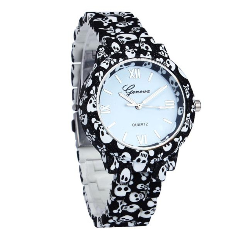 Wrist Watch Women Fashion Simulated-Ceramics Skull/Flower Printed/UK Style Quartz Watch Drop Shipping drop shoulder printed dress