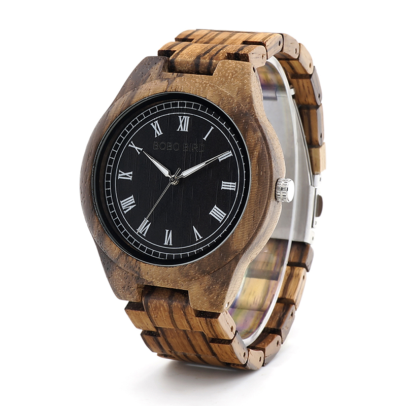 for watch quartz s zebrawood handmade watches father fathers bamboo men gift wristwatch day wooden wrist product wood mens