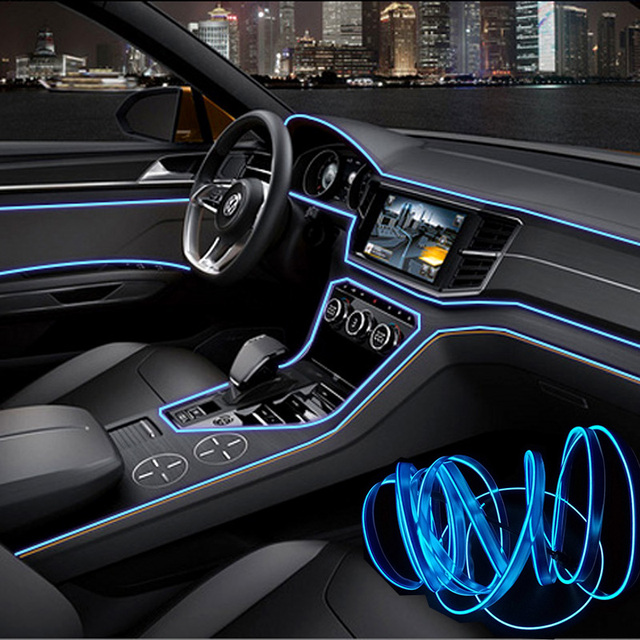 1M/2M/3M/5M Car Interior Lighting Auto LED Strip Garland EL Wire Rope Tube Line flexible Neon Light With 12V USB Cigarette Drive 5