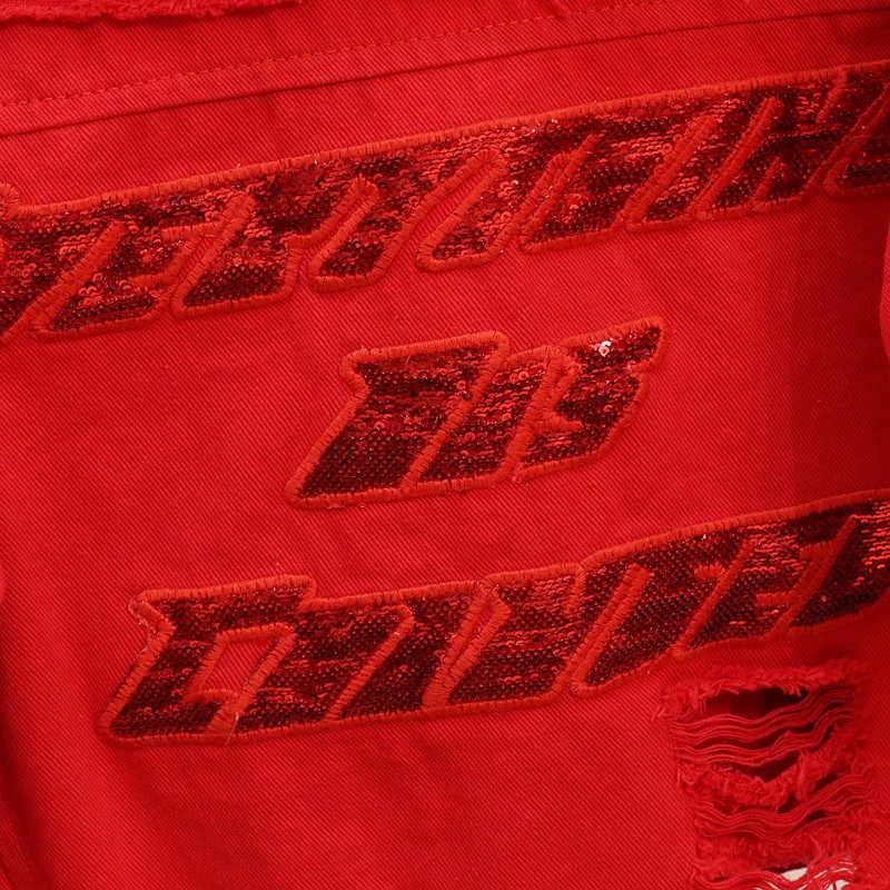 Rot Schwarz Denim Jacke Frauen Grundlegende Mantel 2020 Herbst Große größe Löcher Kurze Pailletten Jeans Jacke Harajuku Mode Weibliche Jeans mantel