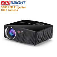Original VIVIBRIGHT GP80 Projects LED 1800 Lumens HD Mini Portable Projector For Home Theater Cinema Support 1080P USB HDMI