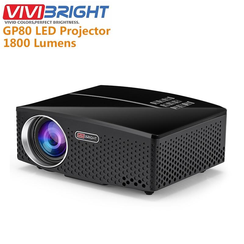 Original VIVIBRIGHT GP80 projette LED 1800 Lumens HD Mini projecteur Portable pour Home cinéma cinéma Support 1080P USB HDMI
