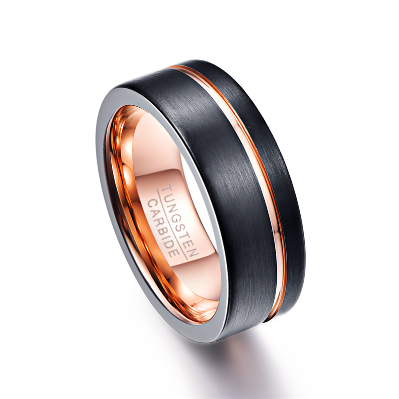 Classic Desgin 8mm Wide Black Color Thin Rose Gold Line Men Ring 100% Tungsten Carbide Ring Male Wedding Bands Jewelry men s classic black tungsten steel cool ring page 4