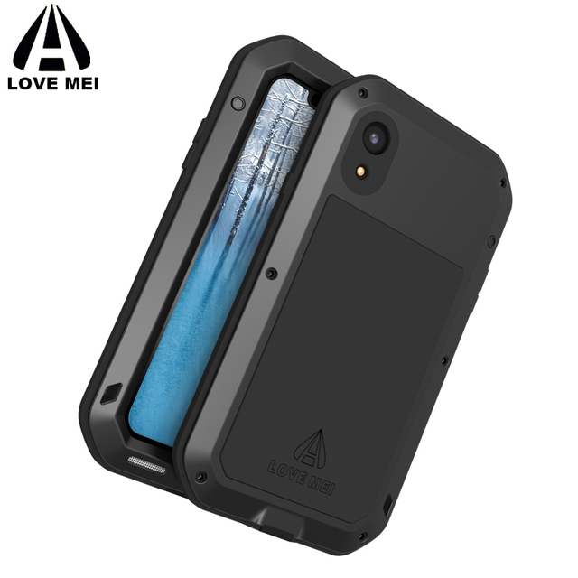 new product 1ef49 b8bfe US $28.0 11% OFF|for iPhone XR iPhone X XS Max Plus LOVE MEI Luxury  Powerful Metal Shockproof Case Aluminum Dirt Waterproof Phone Cover with  Glas-in ...
