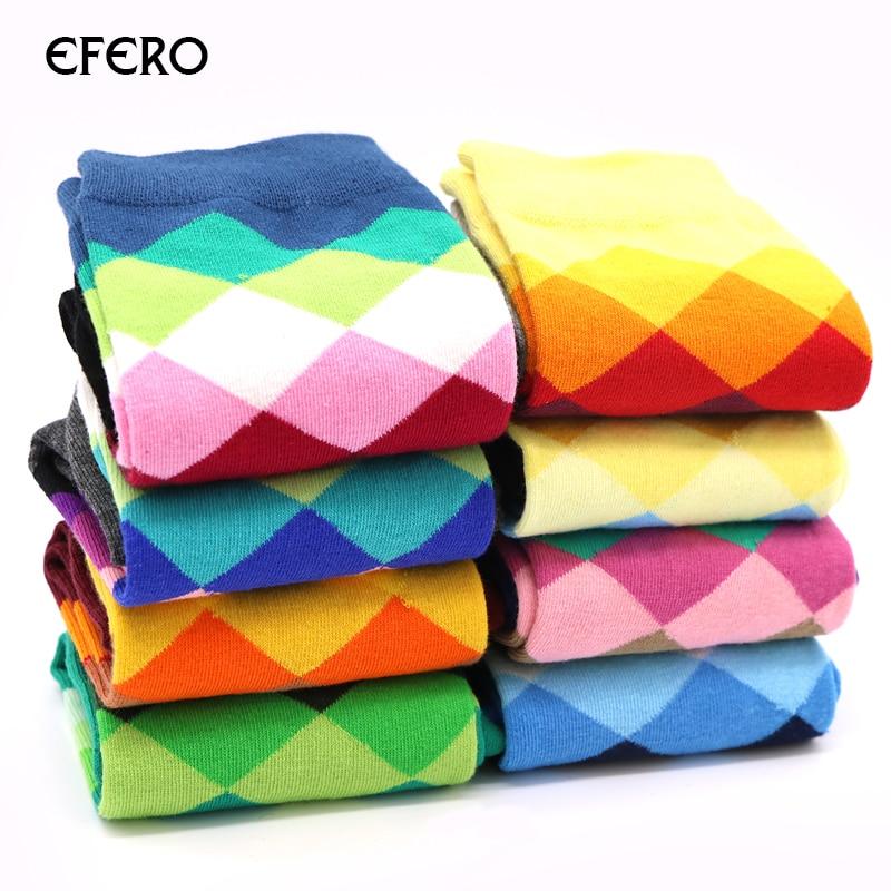 efero Men Cotton Socks Funny Fashion Fluffy Sock Warm Casual Winter Mens Dress Sock Colorful Rhombous Pattern Comfortable Sock
