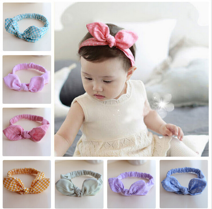 TWDVS Newborn Cute Korean version Hair Accessories Kids Knot Rabbit ears Elasticity Headband Ring Hair band T10