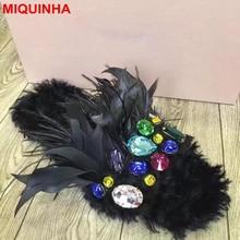 MIQUINHA Peep Toe Feather Design Stylish Women Slipper Colorful Crystal Embellished Lady Slides Super Star Runway Shoes Street