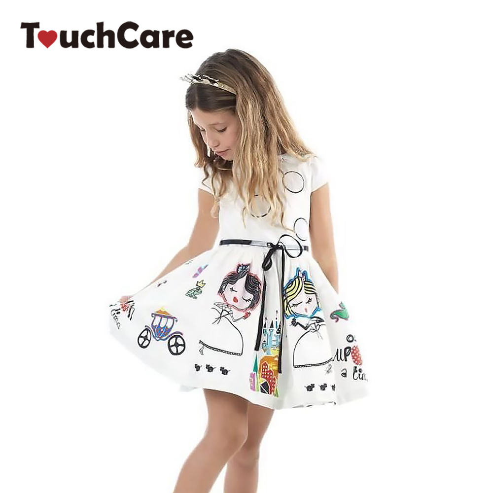 Girls Summer Dress Kids Clothes Girl Party Wedding Costume with Sashes Robe Fille Character Princess Dress Children Clothing
