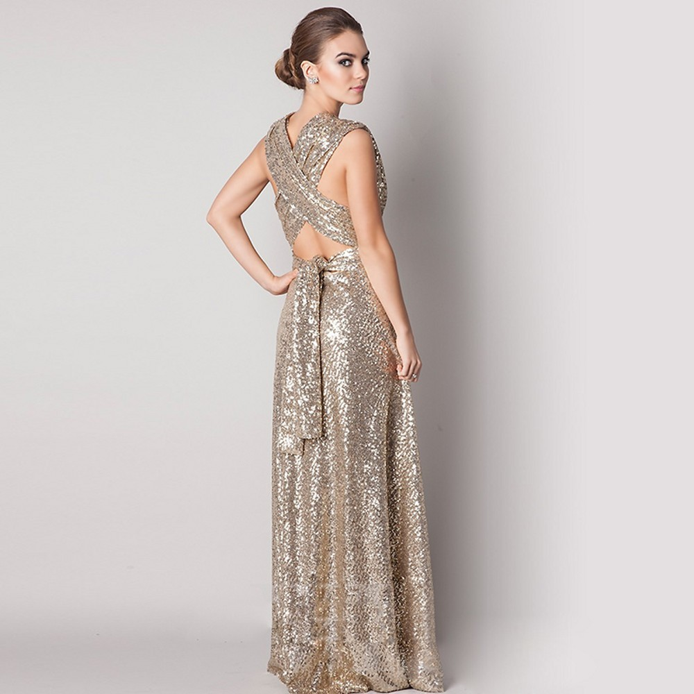 Long Sequined Maid Of Honor Bridesmaid Dress 3