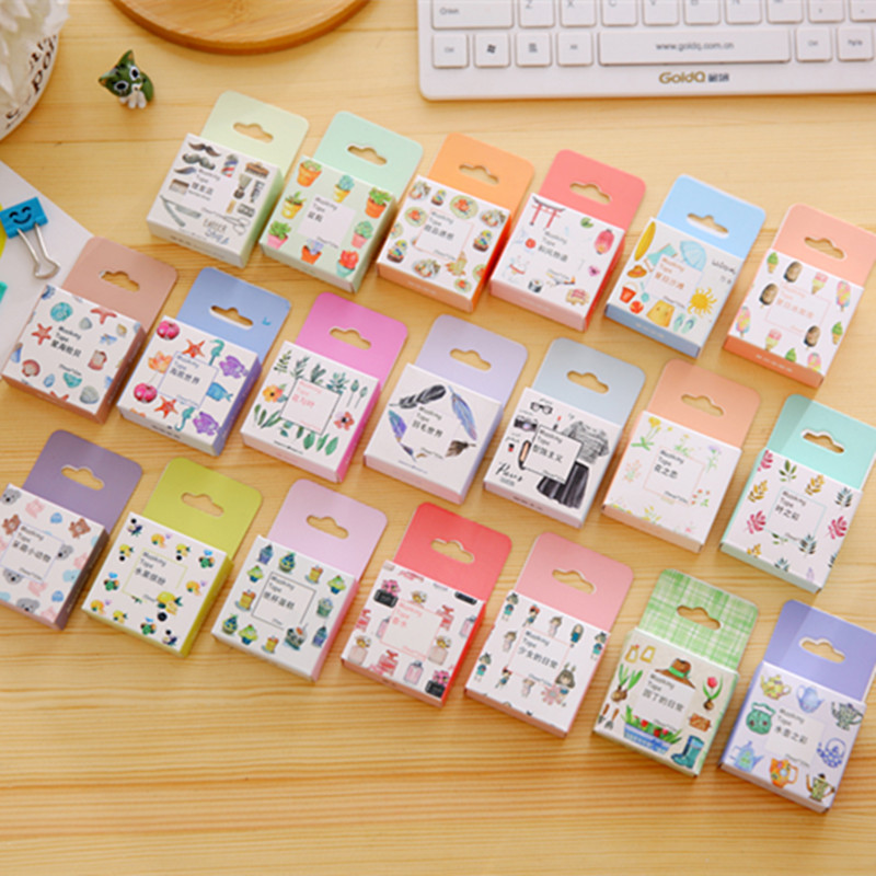Cute Kawaii Flower Cartoon Masking Tape Washi Scotch Decorative Adhesive Tapes Scrapbook Paper Masking Sticker Photo Album Set cute kawaii flowers feather cat swan animals decorative scotch tape adhesive masking washi tape paper stickers for scrapbooking