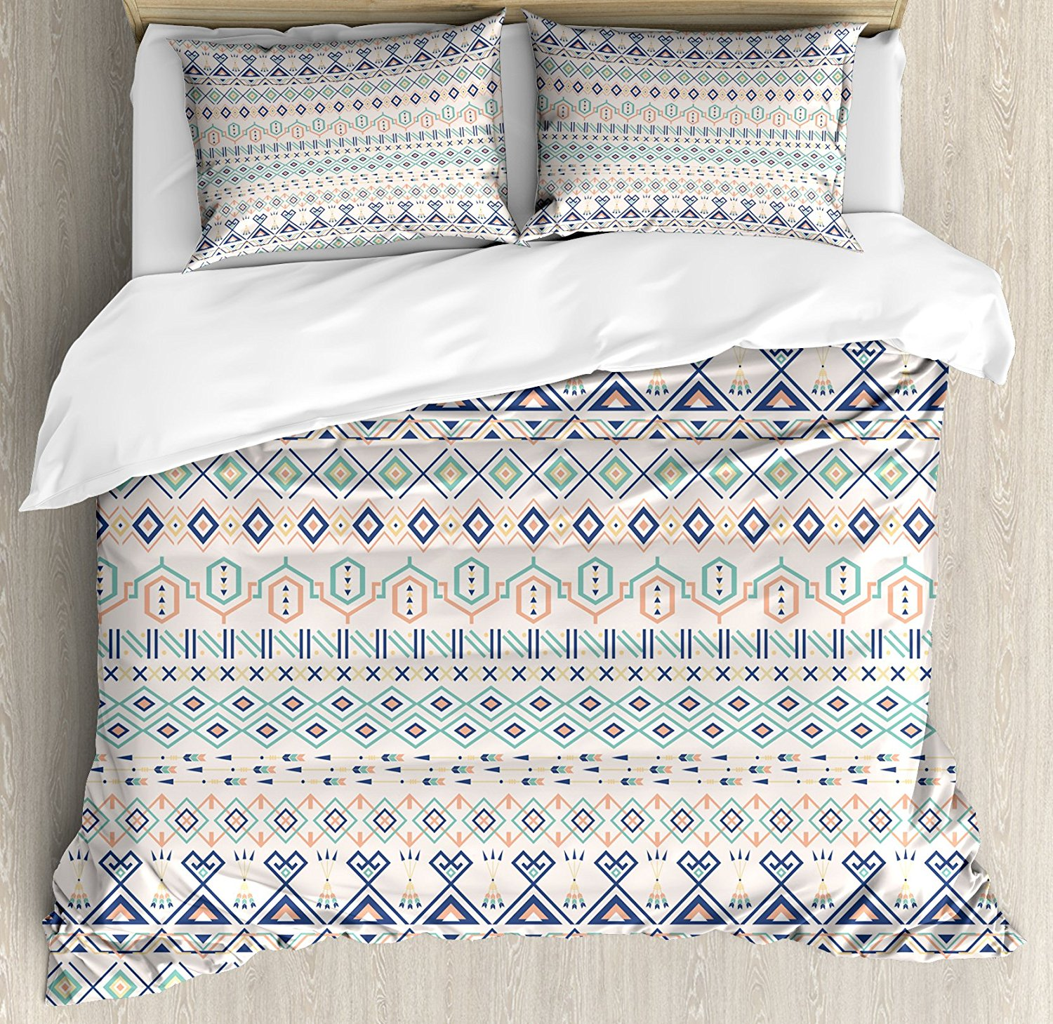 Geometric Duvet Cover Set Aztec Motifs Triangles Squares Artful Folk Inspiration Tribal Image Bedding With 2 Pillow Shams In Sets From Home
