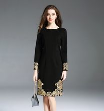 Black Embroidery Long Sleeve Slim Knee Length Dress Elegant Vintage Sweet Sexy Office Party Fashion Dress 2019 Spring Clothing(China)